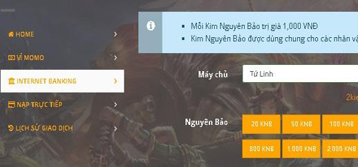 HD nạp Kim Nguyên Bảo bằng Internet Banking